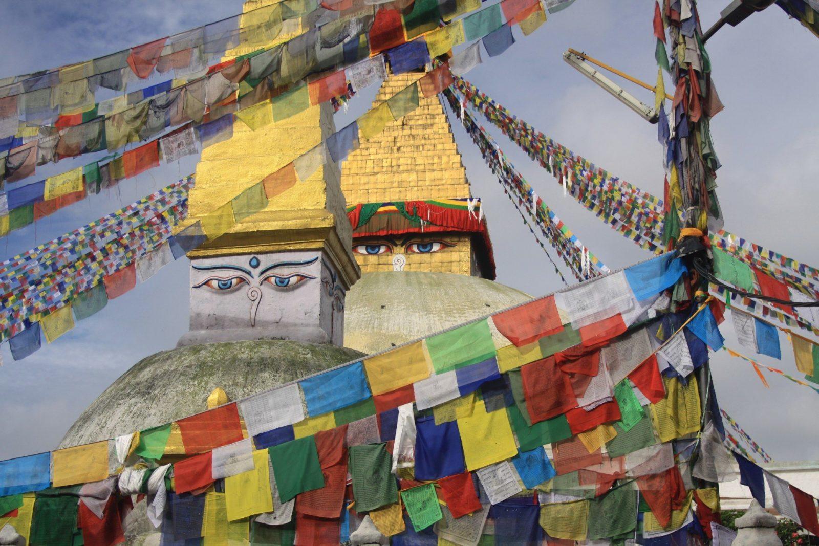 Die Bodnath Stupa in Kathmandu zählt mit zu den größten Stupas ausserhalb von Tibet